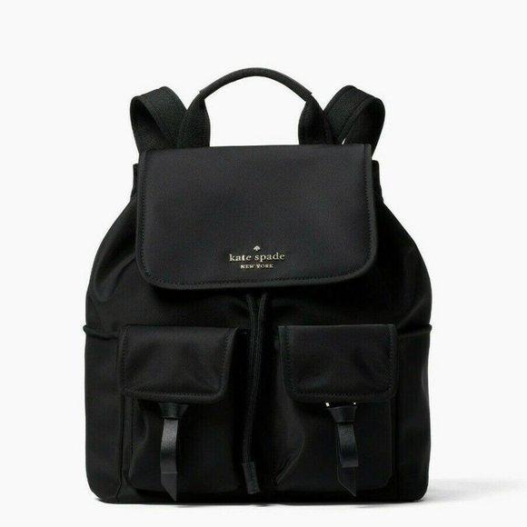Kate Spade Carley Flap Nylon Backpack, Black